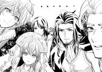 artist_request breasts curly_hair dark_skin dress dunban_(xenoblade) gloves hair_ornament hair_ribbon hat head_wings highres long_hair looking_at_viewer melia_antiqua monochrome reyn_(xenoblade) ribbon sharla_(xenoblade) short_hair shulk_(xenoblade) simple_background upper_body white_background xenoblade_chronicles xenoblade_chronicles_(series)