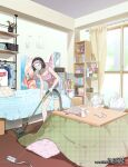 1girl artist_name bed bedroom black_hair blue_shorts bob_cut book book_stack bookshelf bottle box cardboard_box cd clothes clothes_hanger computer curtains eyewear_removed figure highres indoors kotatsu laptop lens_flare mouse_(computer) muromaki nintendo_switch original pillow pink_shirt plant poster_(object) potted_plant power_bank ramen shirt shorts sliding_doors socks solo t-shirt table tank_top trash_bag vacuum_cleaner watermark web_address window