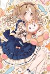 1girl :o animal_ears bangs bare_legs bear_ears blue_bow blue_dress blush_stickers bow brown_eyes brown_hair chiri_(ch!) commentary cross-laced_sleeves daisy dress fake_animal_ears flower frilled_dress frilled_sleeves frills hair_bow holding holding_stuffed_toy ichikawa_hinana idolmaster idolmaster_shiny_colors parted_bangs parted_lips pink_bow pink_flower pocket puffy_short_sleeves puffy_sleeves short_sleeves simple_background skirt socks solo stuffed_animal stuffed_fish stuffed_toy symbol_commentary teddy_bear twintails wavy_hair white_flower white_legwear white_skirt wrist_cuffs yellow_background yellow_bow