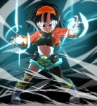 1girl ankle_boots asymmetrical_legwear attack aura belt black_eyes black_hair black_legwear blurry boots closed_mouth collarbone crop_top cupping_hands dark_background depth_of_field dragon_ball dragon_ball_heroes energy_ball eyelashes fanny_pack fighting_stance fingerless_gloves fingernails flat_chest floating_hair full_body glint gloves glowing green_shorts grey_footwear grey_gloves hairband hands_up jacket knee_pads legs_apart light_rays looking_at_viewer midriff navel open_clothes open_jacket orange_hairband pan_(dragon_ball) pan_(xeno)_(dragon_ball) red_jacket rom_(20) shaded_face short_hair shorts smile socks solo standing straight_hair tight v-shaped_eyebrows white_legwear