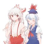 2girls blue_dress blue_hair blue_headwear bow dango dress food fujiwara_no_mokou grey_hair hand_in_pocket hat holding itomugi-kun kamishirasawa_keine long_hair multicolored_hair multiple_girls open_mouth pants ponytail red_bow red_eyes red_neckwear red_pants shirt short_sleeves simple_background smile suspenders torn_clothes torn_sleeves touhou two-tone_hair upper_body very_long_hair wagashi white_background white_shirt