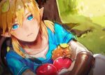 1boy against_tree apple bangs blonde_hair blue_eyes blue_tunic blush day fa8072 food fruit grass hair_between_eyes holding holding_food holding_fruit leaf link long_hair looking_at_viewer male_focus outdoors parted_lips pointy_ears shield sketch solo strap the_legend_of_zelda the_legend_of_zelda:_breath_of_the_wild tree