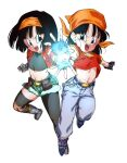 2girls arm_at_side armpits asymmetrical_legwear attack bandana belt black_belt black_eyes black_gloves black_hair black_legwear boots chain collarbone crop_top denim dragon_ball dragon_ball_gt dragon_ball_heroes dual_persona energy_ball eyelashes facing_viewer fanny_pack feet_up fighting_stance fingerless_gloves fingernails flat_chest gloves glowing green_shorts grey_footwear hairband highres jeans knee_pads looking_at_another looking_to_the_side multiple_girls navel orange_hairband orange_headwear outstretched_hand pan_(dragon_ball) pan_(xeno)_(dragon_ball) pants purple_legwear rom_(20) serious short_hair shorts side-by-side simple_background socks straight_hair teeth thighs tight toned upper_teeth v-shaped_eyebrows white_background