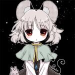 1girl animal_ears biyon black_background black_skirt black_vest blush_stickers capelet commentary_request flying_sweatdrops grey_hair long_sleeves looking_at_viewer lowres mouse mouse_ears nazrin red_eyes shirt skirt solo tail touhou twitter_username upper_body vest white_shirt