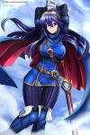 1girl absurdres alternate_breast_size arms_up blue_eyes blue_hair boots breasts cape falchion_(fire_emblem) fire_emblem fire_emblem_awakening headband highres knee_boots large_breasts long_hair looking_at_viewer lucina_(fire_emblem) smile tagme tiara vilde_loh_hocen