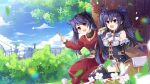 2girls animal_ears bangs bare_shoulders binato_lulu black_hair black_legwear breasts bridal_gauntlets cat_ears character_request clouds cloudy_sky commentary_request commission day detached_collar detached_sleeves dress eyebrows_visible_through_hair fork grass hair_between_eyes holding holding_fork holding_plate long_hair looking_at_viewer medium_breasts multiple_girls neptune_(series) noire open_mouth outdoors picnic_basket plate pleated_skirt red_dress red_eyes seiza sidelocks signature sitting skirt sky thigh-highs tree twintails white_skirt
