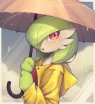 :o artist_name bellavoirr blush buttons clothed_pokemon commentary dated english_commentary gardevoir gen_3_pokemon hands_up highres holding holding_umbrella looking_back open_mouth orange_eyes pokemon raincoat tongue umbrella water_drop