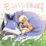 animal animal_focus azuma_yuki bandana blurry blurry_background canyne cat closed_eyes closed_mouth dated depth_of_field facing_viewer felyne flower highres monster_hunter monster_hunter_rise no_humans on_grass signature sleeping smile translation_request white_flower wolf zzz