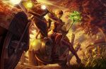 1girl autumn_leaves blonde_hair blood_elf boots breasts bug building butterfly c_home closed_mouth commentary_request exhaust_pipe fence floating_hair from_below gloves glowing glowing_weapon grass green_eyes ground_vehicle hat highres holding holding_staff insect leaves_in_wind light md5_mismatch motor_vehicle motorcycle outdoors pointy_ears red_headwear sitting_sideways staff thigh-highs thigh_boots tree warcraft weapon world_of_warcraft