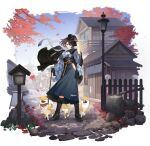 1girl animal autumn_leaves azur_lane baltimore_(ace's_travel_journal)_(azur_lane) baltimore_(azur_lane) black_flower black_gloves black_headwear blue_skirt boots braid brown_hair cross-laced_footwear dog feng_ze flower gloves hakama high-waist_skirt highres japanese_clothes knee_boots leaf long_skirt maple_leaf medium_hair meiji_schoolgirl_uniform official_alternate_costume official_art outdoors scarf shiba_inu skirt solo transparent_background welsh_corgi white_scarf yagasuri yellow_eyes