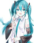 1girl :d aqua_eyes aqua_hair aqua_neckwear bangs bare_shoulders black_sleeves blush collared_shirt commentary_request detached_sleeves hair_between_eyes hatsune_miku highres holding irohatomo long_hair long_sleeves looking_at_viewer necktie number_tattoo open_mouth shirt shoulder_tattoo smile solo spring_onion tattoo twintails upper_body very_long_hair vocaloid white_shirt