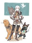 1girl animal animal_hood armor artist_request canyne cape cat_hood cosplay dog edelgard_von_hresvelg felyne ferdinand_von_aegir fewer_digits fire_emblem fire_emblem:_three_houses gloves hair_ornament hair_ribbon hood hubert_von_vestra kamura_(armor) long_hair long_sleeves looking_at_viewer monster_hunter_(series) monster_hunter_rise ribbon simple_background solo violet_eyes white_hair