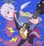 1girl :q alternate_costume alternate_hairstyle amane_kanata angel angel_wings armband black_legwear blue_hair colored_inner_hair electric_guitar eyebrows_visible_through_hair feathered_wings guitar hair_intakes hair_over_one_eye halo highres hikap hololive instrument jacket letterman_jacket looking_away mini_wings miniskirt multicolored_hair music pantyhose pink_hair playing_instrument pleated_skirt pp_tenshi_t-shirt red_skirt short_hair silver_hair skirt solo star_halo streaked_hair tongue tongue_out v-shaped_eyebrows very_short_hair violet_eyes virtual_youtuber white_wings wings