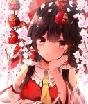 1girl bow branch brown_eyes brown_hair cherry_blossoms commentary_request daruma_doll detached_sleeves elbow_rest flower hair_bow hair_tubes hakurei_reimu hand_on_own_cheek hand_on_own_face hand_up highres hunya long_hair long_sleeves looking_at_viewer petals red_bow red_shirt ribbon-trimmed_sleeves ribbon_trim shirt solo sparkle touhou upper_body white_background yellow_neckwear