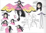 1girl arrow_(symbol) artist_request black_eyes black_footwear black_hair black_legwear choker collarbone concept_art eyelashes gym_leader hair_ornament high_heels japanese_clothes long_hair long_sleeves looking_at_viewer multiple_views official_art parted_lips partially_colored pink_ribbon pokemon pokemon_(game) pokemon_xy purple_choker purple_ribbon ribbon sidelocks smile standing thigh-highs translation_request valerie_(pokemon) very_long_hair w_arms wide_sleeves