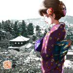 1girl brown_eyes building chutohampa japanese_clothes kimono looking_at_viewer original print_kimono profile purple_kimono smile solo tree white_sky