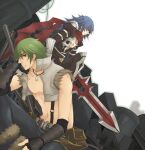2boys armor armored_boots assassin_cross_(ragnarok_online) axe bangs belt bio_lab black_gloves black_pants black_shirt blue_hair blue_pants boots brown_belt closed_mouth commentary_request crop_top dagger eremes_guile eyebrows_visible_through_hair fingerless_gloves fur-trimmed_pants gauntlets gloves green_hair hair_between_eyes holding holding_axe holding_dagger holding_weapon howard_alt-eisen jamadhar jewelry long_hair looking_at_viewer looking_to_the_side male_focus multiple_boys necklace open_clothes open_shirt pants pauldrons pouch ragnarok_online red_eyes red_scarf scarf shirt short_hair shoulder_armor sptbird suspenders torn_clothes torn_scarf torn_shirt weapon white_background white_shirt whitesmith_(ragnarok_online)