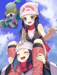 2girls bare_arms beanie black_hair blue_eyes blush boots carrying closed_eyes clouds dawn_(pokemon) eyelashes female_protagonist_(pokemon_legends:_arceus) from_below gen_4_pokemon gen_7_pokemon hair_ornament hairclip hat head_scarf highres katwo kneehighs long_hair multiple_girls open_mouth pokemon pokemon_(game) pokemon_dppt pokemon_legends:_arceus rowlet scarf shoulder_carry sidelocks sky sleeveless smile starter_pokemon sweatdrop tongue turtwig white_headwear |d