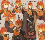 1boy 1girl animal armor blonde_hair breastplate brown_background brown_cape brown_eyes brown_hair cape cat commentary_request delthea_(fire_emblem) fire_emblem fire_emblem_echoes:_shadows_of_valentia gradient_hair haru_(nakajou-28) highres holding holding_animal holding_cat long_hair low_ponytail luthier_(fire_emblem) male_focus multicolored_hair multiple_views open_mouth orange_hair pauldrons paw_print ponytail shoulder_armor solo_focus sweatdrop tabard thinking twitter_username two-tone_cape weeds