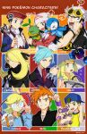 :d adjusting_eyewear artist_name backwards_hat bangs baseball_cap beanie black_coat black_hair black_jacket black_shirt blonde_hair blue_oak braid brown_hair character_name clemont_(pokemon) coat commentary copyright_name cosmog cynthia_(pokemon) dawn_(pokemon) eyelashes eyewear_on_head flying_sweatdrops fur_collar gen_1_pokemon gen_4_pokemon gen_7_pokemon glasses green_eyes grey_bag guzma_(pokemon) hair_ornament hair_over_one_eye hat hazel0217 highres holding holding_pokemon holding_strap hood hooded_jacket jacket jewelry legendary_pokemon lillie_(pokemon) long_hair long_sleeves lucas_(pokemon) mechanical_arms multicolored_hair necklace on_shoulder open_clothes open_jacket open_mouth orange_hair piplup pokemon pokemon_(creature) pokemon_(game) pokemon_dppt pokemon_frlg pokemon_hgss pokemon_on_shoulder pokemon_oras pokemon_platinum pokemon_sm pokemon_xy purple_wristband rattata red_headwear ring scarf shirt short_sleeves single_mechanical_arm smile spiky_hair starly starter_pokemon steven_stone sunglasses sweatdrop t-shirt teeth tongue turtwig twin_braids two-tone_hair undercut white_hair white_headwear white_scarf yellow-framed_eyewear youngster_(pokemon)