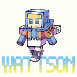 1girl apex_legends backpack bag blonde_hair blue_bodysuit blue_eyes blue_headwear bodysuit bungaw character_name hood hooded_jacket jacket minecraft orange_jacket parody scar scar_on_cheek scar_on_face smile solo style_parody walking wattson_(apex_legends) white_bodysuit