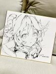 1girl :o animal_ears anmi arknights artist_name blush ear_protection eyjafjalla_(arknights) goat_ears goat_horns highres horns looking_at_viewer open_mouth photo_(medium) portrait solo traditional_media