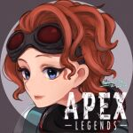 1girl absurdres apex_legends artist_name blue_eyes copyright_name dated goggles goggles_on_head hair_behind_ear highres hokuro56 horizon_(apex_legends) huge_filesize light_smile logo looking_at_viewer orange_hair short_hair smile solo upper_body