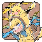1girl =_= apex_legends backpack bag blonde_hair blue_eyes blush bungaw chibi clenched_hands crossover electricity eyebrows_visible_through_hair fang gen_1_pokemon on_head open_mouth pikachu pikachu_costume pikachu_hood pokemon pokemon_(creature) pokemon_on_head scar scar_on_cheek scar_on_face trait_connection v-shaped_eyebrows wattson_(apex_legends)