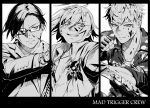 3boys aohitsugi_samatoki blood blood_on_face blood_splatter busujima_riou_mason camouflage combat_knife dog_tags formal glasses gloves greyscale grin gun handgun highres holding holding_gun holding_knife holding_weapon hypnosis_mic iruma_juuto jewelry knife mad_trigger_crew male_focus monochrome multiple_boys necktie punching reverse_grip shirt simple_background smile suit take_bayashi_3d undercut weapon