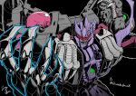 beast_wars black_background commission highres looking_at_viewer mecha no_humans oohara_tetsuya open_hand orange_eyes predacon razorclaw_(transformers) science_fiction signature solo transformers upper_body visor