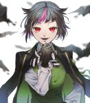 1boy bangs bat black_gloves black_hair blurry collared_shirt depth_of_field eyelashes fangs finger_to_own_chin gloves hat highres jacket jacket_on_shoulders lilia_vanrouge long_sleeves looking_at_viewer male_focus multicolored_hair night_raven_college_uniform open_mouth pink_hair pointy_ears red_eyes shirt short_hair simple_background smile solo streaked_hair toukyuu twisted_wonderland waistcoat