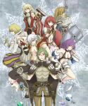 3girls 4boys alphoccio_basil animal_around_neck armor bangs belt bikini black_footwear black_gloves black_pants black_shorts blonde_hair blue_cape blue_sleeves bottle breastplate brown_belt brown_cape brown_pants brown_vest cape celia_alde champion_(ragnarok_online) championship_belt chen_lio choker closed_mouth coat commentary_request cowboy_shot creator_(ragnarok_online) detached_sleeves dress eyebrows_visible_through_hair flamel_emure fox full_body fur-trimmed_cape fur-trimmed_sleeves fur_trim gauntlets gertie_wie gloves green_hair gypsy_(ragnarok_online) hair_between_eyes holding holding_sword holding_weapon holding_whip hooded_coat jewelry light_brown_hair living_clothes long_hair looking_at_viewer looking_to_the_side medium_hair minstrel_(ragnarok_online) multiple_boys multiple_girls navel necklace open_clothes open_coat open_mouth paladin_(ragnarok_online) pantaloons pants pauldrons potion pouch professor_(ragnarok_online) purple_hair ragnarok_online randel_lawrence red_dress red_eyes red_sleeves redhead revealing_clothes see-through shirt shoes short_hair short_shorts shorts shoulder_armor sleeveless sleeveless_coat sleeveless_dress smile sptbird stalker_(ragnarok_online) strapless strapless_bikini striped_sleeves swimsuit sword teeth trentini two-tone_gloves vest vial waist_cape weapon white_coat white_gloves white_hair white_pants white_shirt white_sleeves yellow_bikini