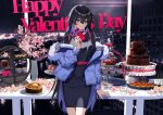 1girl bangs belt black_dress black_hair blue_eyes blue_hair blurry blurry_background bowl brown_coat chocolate_fountain closed_mouth coat colored_inner_hair dress earrings english_text flower fur-trimmed_coat fur_trim gift happy_valentine highres holding holding_gift jewelry kamitsubaki_studio koko_(kamitsubaki_studio) koko_virtual long_hair long_sleeves looking_at_viewer medium_dress multicolored_hair night off_shoulder open_clothes open_coat pencil_dress red_belt smile solo standing tiered_tray very_long_hair