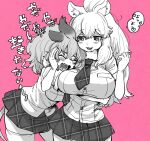 2girls animal_ears arm_around_back bangs bare_arms big_hair breast_pocket breasts cat_girl closed_eyes commentary cuddling eyebrows_visible_through_hair fangs fur_collar furrowed_eyebrows hair_between_eyes hand_on_another's_cheek hand_on_another's_face hands_up highres hug huge_breasts impossible_clothes impossible_shirt kemono_friends leaning_forward lion_(kemono_friends) lion_ears lion_girl lion_tail long_hair looking_at_another machiko_(kama425) microskirt multiple_girls necktie open_mouth pink_background pocket shirt short_sleeves simple_background skirt smile symbol_commentary tail tearing_up thigh-highs translation_request white_lion_(kemono_friends) zettai_ryouiki