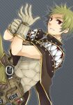 1boy armor bangs belt breastplate brown_belt brown_cape brown_pants cape comiket_80 commentary_request cover cover_page creator_(ragnarok_online) diagonal_stripes doujin_cover dutch_angle flamel_emure gloves green_hair grey_background grin living_clothes looking_at_viewer male_focus pants pouch putting_on_gloves ragnarok_online red_eyes short_hair smile solo sptbird striped striped_background teeth upper_body white_gloves