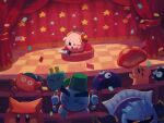 bandana_waddle_dee cappy_(kirby) checkered checkered_floor chilly_(kirby) confetti gooey gordo headphones highres kirby kirby_(series) meta_knight microphone one_eye_closed plugg_(kirby) scarfy stage star_(symbol) suyasuyabi sweat theater