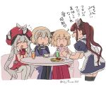 4girls :d ^_^ animal_ears apron asaya_minoru bangs black_dress black_legwear blue_dress brown_hair cat_ears character_request closed_eyes couch cropped_legs dress eyebrows_visible_through_hair fate/grand_order fate_(series) food frilled_hat frills gloves grey_hair grey_legwear hair_between_eyes hakama hands_together hat headpiece heart heart_hands japanese_clothes jeanne_d'arc_(fate) jeanne_d'arc_(fate)_(all) kimono koha-ace light_brown_hair long_hair maid maid_headdress marie_antoinette_(fate) multiple_girls okita_souji_(fate) okita_souji_(fate)_(all) omurice on_couch open_mouth own_hands_together palms_together pink_kimono profile puffy_short_sleeves puffy_sleeves red_dress red_gloves red_hakama red_headwear short_sleeves simple_background sitting smile table thigh-highs translation_request twintails twitter_username very_long_hair white_apron white_background wrist_cuffs |_|