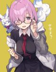 1girl animal_on_shoulder bangs black_dress blush collared_dress dress enomoto_hina fate/grand_order fate_(series) fou_(fate) glasses grey_jacket hair_over_one_eye hands_up jacket long_sleeves looking_at_viewer mash_kyrielight necktie open_mouth purple_hair red_neckwear simple_background smile solo upper_body violet_eyes yellow_background