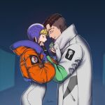 1boy 1girl apex_legends bailian black_gloves black_hair blonde_hair blue_gloves blue_headwear blush bodysuit closed_eyes crypto_(apex_legends) from_side gloves green_sleeves hand_on_another's_face hetero highres hood hooded_jacket jacket open_mouth orange_jacket partially_fingerless_gloves signature wattson_(apex_legends) white_bodysuit white_jacket