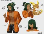 1boy abs alolan_form alolan_raichu arrow_(symbol) bangs black_shorts blush_stickers character_name closed_eyes closed_mouth coat dark_skin dark_skinned_male eating english_text gen_7_pokemon green_hair hair_between_eyes hair_down hair_ornament hand_on_hip hands_up hau_(pokemon) hazel0217 highres holding long_hair long_sleeves looking_at_viewer malasada male_focus navel older open_clothes open_coat open_mouth orange_coat pokemon pokemon_(creature) pokemon_(game) pokemon_sm shorts signature sketch smile teeth tied_hair