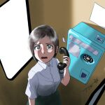 1girl blush brown_hair chutohampa collared_shirt grey_eyes holding holding_phone looking_at_viewer open_mouth original payphone phone phone_booth shadow shirt short_hair short_sleeves signature solo upper_body white_shirt