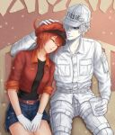 1boy 1girl ae-3803 ahoge bangs baseball_cap belt bench black_shirt breasts cabbie_hat closed_eyes commentary couple cup denim denim_shorts disposable_cup gloves grey_eyes hair_between_eyes hair_over_one_eye hand_on_another's_head hands_on_lap hat hataraku_saibou head_on_another's_shoulder holding holding_cup jacket katsuki000 long_sleeves medium_breasts on_bench open_clothes open_jacket pale_skin pants parted_lips red_belt red_blood_cell_(hataraku_saibou) red_headwear red_jacket redhead shirt short_hair short_sleeves shorts sitting sleeping sleeping_on_person sleeping_upright stone_wall translated u-1146 uniform wall white_blood_cell_(hataraku_saibou) white_gloves white_hair white_headwear white_legwear white_shirt