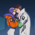 1boy 1girl apex_legends bailian black_eyes black_gloves black_hair blonde_hair blue_eyes blue_gloves blue_headwear bodysuit crypto_(apex_legends) from_side gloves green_sleeves hand_on_another's_face hetero highres hood hooded_jacket jacket looking_at_another looking_down looking_up orange_jacket partially_fingerless_gloves signature wattson_(apex_legends) white_bodysuit white_jacket