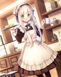 1girl :d apron bangs black_bow black_legwear blush bow brown_dress brown_eyes chair collared_shirt commentary_request cup dress eyebrows_visible_through_hair feet_out_of_frame flower food frilled_apron frills hair_flower hair_ornament head_scarf highres holding holding_cup holding_tray indoors juliet_sleeves long_sleeves looking_at_viewer maid_apron mug open_mouth original pancake pantyhose pink_flower plate puffy_sleeves shirt smile solo stack_of_pancakes standing table tray waitress watering_can white_apron white_hair white_shirt yomogi_komegura