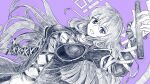1girl :d bangs breasts cross-laced_clothes dress dutch_angle eyebrows_visible_through_hair greyscale gurajio hair_between_eyes hijiri_byakuren holding holding_scroll large_breasts layered_dress long_hair long_sleeves looking_at_viewer monochrome open_mouth purple_background scroll simple_background smile solo sorcerer's_sutra_scroll touhou violet_eyes