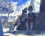 1boy 1girl amusement_park bench black_hair black_shirt black_skirt blue_sky boots brother_and_sister carousel day eating fate/grand_order fate_(series) ferris_wheel fiery_hair food hat highres ice_cream long_hair micaoz military_hat miniskirt oda_nobukatsu_(fate) oda_nobunaga_(fate)_(all) outdoors park_bench peaked_cap red_eyes red_shorts shirt shoes shorts siblings sitting skirt sky sneakers t-shirt tying_shoes