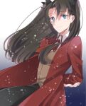 1girl black_hair blue_eyes coat fate/stay_night fate/unlimited_blade_works fate_(series) homurahara_academy_uniform long_hair red_coat ribbon school_uniform smile solo suzuko_(star8383) tohsaka_rin twintails two_side_up