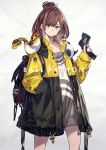 1girl absurdres backpack bag bangs blue_eyes brown_hair english_text hand_in_pocket highres jacket kusano_shinta looking_at_viewer multicolored_hair open_clothes open_jacket original short_hair smile snake solo swept_bangs two-tone_hair white_background