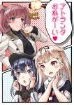 3girls akatsuki_(kancolle) alternate_costume anchor_symbol atlanta_(kancolle) black_headwear black_ribbon black_sailor_collar black_serafuku blonde_hair blush brown_hair buttons character_name closed_mouth clothes_writing eyebrows_visible_through_hair fang flat_cap gameplay_mechanics grey_eyes hair_between_eyes hair_flaps hair_ornament hair_ribbon hairclip hat heart kantai_collection long_hair long_sleeves mayura2002 multiple_girls neckerchief open_mouth purple_hair red_eyes red_neckwear remodel_(kantai_collection) ribbon sailor_collar scarf school_uniform serafuku short_sleeves skin_fang sparkle speech_bubble translation_request two_side_up violet_eyes white_scarf yuudachi_(kancolle)
