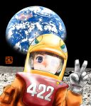 1girl bangs black_sky blue_eyes brown_hair chutohampa earth_(planet) looking_at_viewer on_moon original planet smile solo spacesuit v